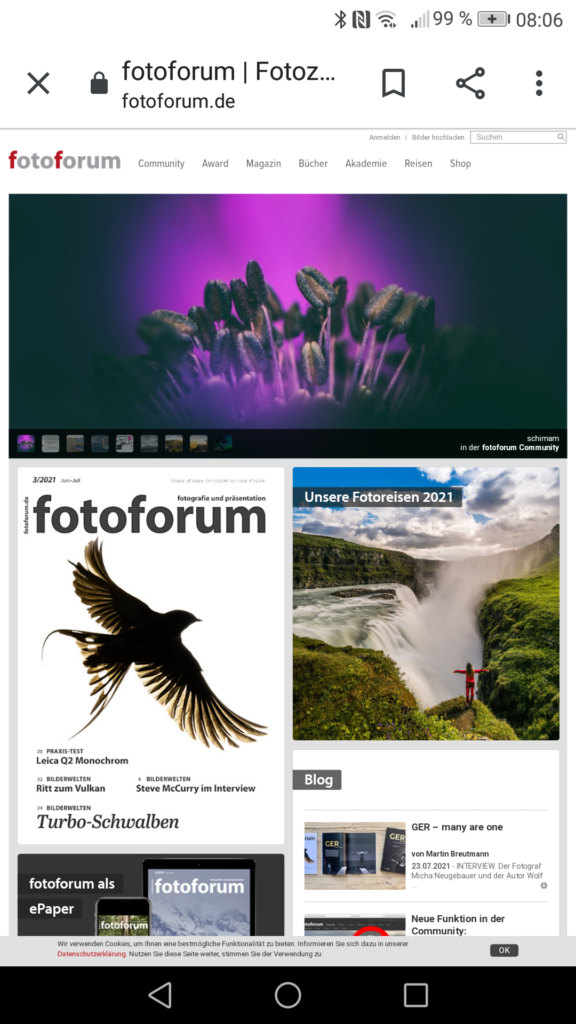 Screenshot Startseite www.fotoforum.de vom 06.08.2021